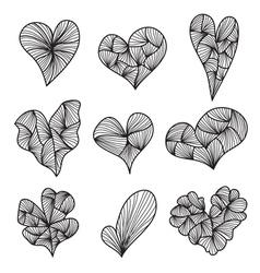 9 decorative hearts vector image