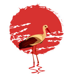 a stork in the background o vector image