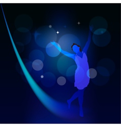 Abstract background with moonlight path and a girl vector image vector image