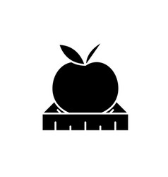 apple with a ruler black icon sign on vector image