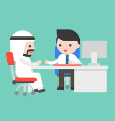 Arab businessman with businessman consult at vector