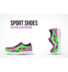 Background of Two Running shoes Bright Sport vector