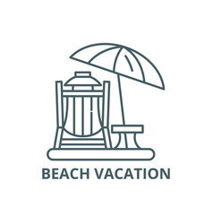 beach vacation line icon beach vacation vector image