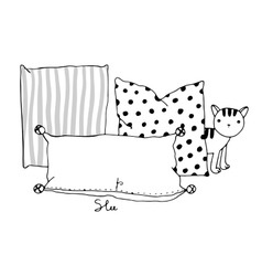 Beautiful pillows and cat vector