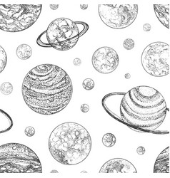 black and white seamless pattern with planets and vector image