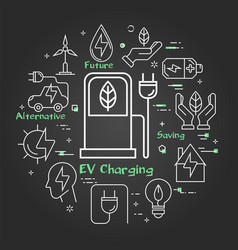 black linear banner ev charging vector image