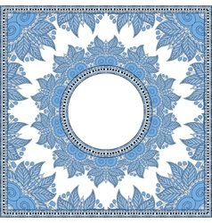 Blue colour floral round pattern in ukrainian vector