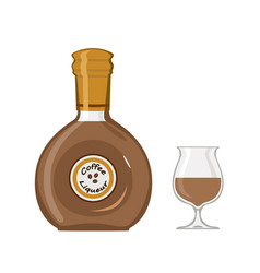 Bottle coffee liqueur with glass isolated on vector