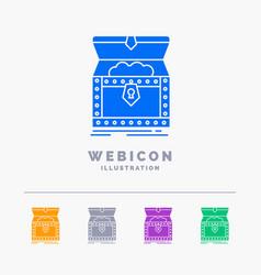 Box chest gold reward treasure 5 color glyph web vector