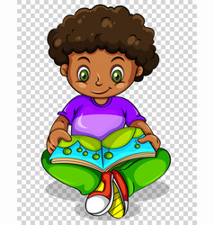 boy reading storybook on transparent background vector image