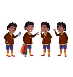 Boy schoolboy set black afro american vector