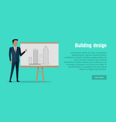 Building design man in black suit near stand vector