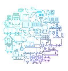 Cargo line icon circle design vector