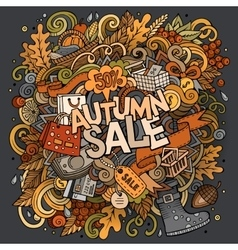 Cartoon cute doodles hand drawn Autumn sale vector