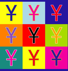 chinese yuan sign pop-art style colorful vector image