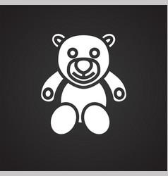 Christmas gift bear on black background vector