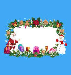 christmas holiday frame santa and snowman vector image