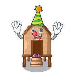 Clown chicken in a wooden cartoon coop vector