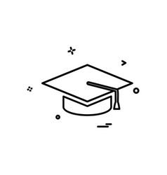 college education graduation cap hat university vector image