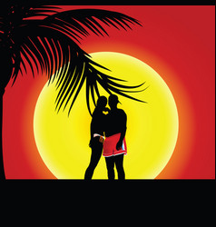couple on sunset with palm and sun vector image