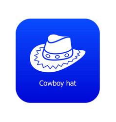 Cowboy hat icon blue vector