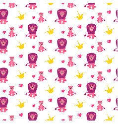 Cute lion and lioness seamless pattern vector