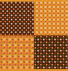 cute woodland berry and daisy seamless patterns vector image