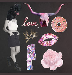 Digital collage graphic set vintage mixed media vector