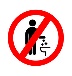 Do not litter in toilet icon keep clean sign vector