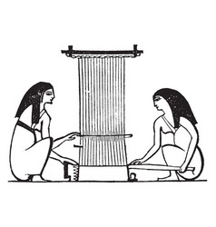 egyptian weaving the use of the spindle and loom vector image