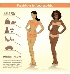 Fashion infographics two girls vector image