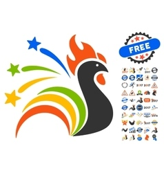 Fireworks Rooster Icon With 2017 Year Bonus vector