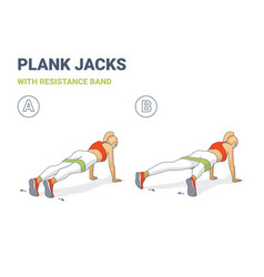 Girl plank jacks weight loss workout exercise vector