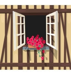 Half-timbered house window vector image