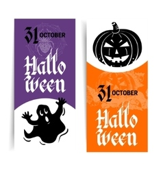 Halloween banners set Hand drawn sketch vector
