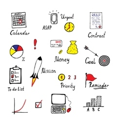 Hand drawn business and finance icons set vector