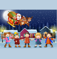 happy kids singing in the snowing village with san vector image