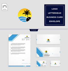 holidays logo template and free letterhead vector image
