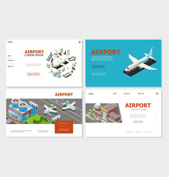 Isometric airport websites collection vector