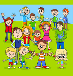Kids and teens cartoon characters group vector
