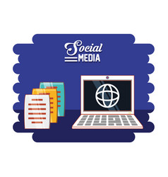 laptop computer with social media icons vector image