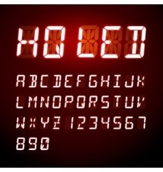 LED digital alphabet on red background vector image
