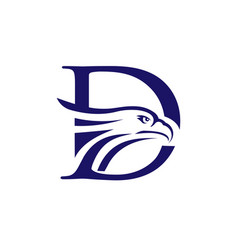 letter d and eagle head logo vector image