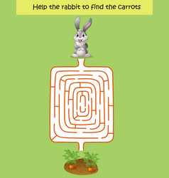 Maze game help the rabbit to find the carrot vector