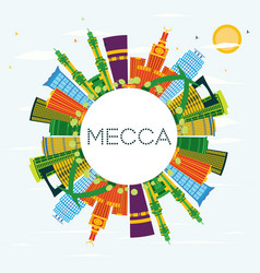 mecca city skyline with color buildings blue sky vector image