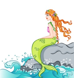 Mermaid sitting on the rock vector