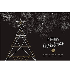 Merry christmas happy new year deco tree outline vector image