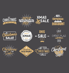 merry christmas sale overlays new year discounts vector image