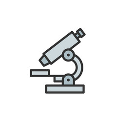 microscope flat color line icon isolated vector image