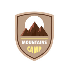 Mountains camp logo flat style vector